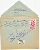 ETIQUETTE SUISSE DECEDE SUR ENV OUVERTE 1954 6F GARGANTUA N° 943 SEUL SUR LETTRE PARIS 56 OMEC - 1921-1960: Periodo Moderno