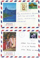 LOT DE 2 X LETTRE AVION POLYNESIE ENVELOPPE ILLUSTREE SCANS RECTO ET VERSO - Polynésie Française