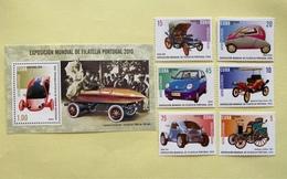 Cuba 2010 Set Of 6 + M/S International Stamp Exhibition PORTUGAL Lisbon Transport Cars Car Motoring Stamps MNH - Cars