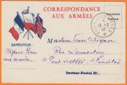 """CPA Illustrée En CORRESPONDANCE AUX ARMEES Cachet """" Poste Aux Armées """" Expédiée Le 19 2 1940 Pour PONT-L'A BBE Finistere - Marcophilie (Lettres)"""