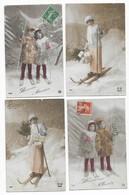 Ski Bonne Année Ski Lot De 8 CPA - Cartes Postales