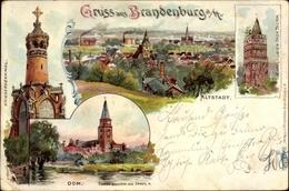 Lithographie Brandenburg An Der Havel, Dom, Torturm, Altstadt, Kriegerdenkmal - Germania