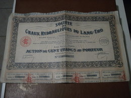 Actions - Société Des Chaux Hydrauliques Du Lang-Tho à Paris (75) - 29 Avril 1927 - Action Au Porteur - Ohne Zuordnung