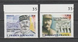 FRANCE / 2018 / Y&T N° 5288/5289 ** : Roumanie-France (2 TP Général Berthelot) X 1 Tous BdF Haut - France
