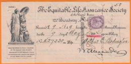 """Timbre  Type De 1881  1p Violet  Y.T.num 73  Sur Coupon De 1894  POLICE ASSURANCE  """" THE  EQUITABLE """" - 1840-1901 (Victoria)"""