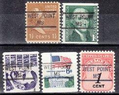 USA Precancel Vorausentwertung Preo, Locals Mississippi, West Point 841, 5 Diff. - Vereinigte Staaten