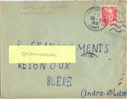 DAGUIN FLAMME DROITE MUETTE  CHATILLON COLIGNY LOIRET Du 20-2-1951 - Storia Postale