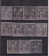 # Z.10886 France Republic 1877 - 80 Type II. 11 X Value 10 C. Used, Yvert 89, Michel 72 II: Pax & Mercur - 1876-1898 Sage (Tipo II)