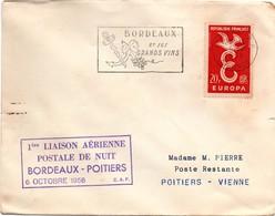 Bordeaux Poitiers 1958 - 1er Vol - First Flight Erstflug - Aéropostale - First Flight Covers