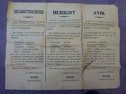 VIEILLE AFFICHE A ENTOILEE 65 Cm X 50,5 Cm EN TROIS LANGUES DU 4 OCTOBRE 1916 A MONS EN BELGIQUE - Affiches