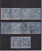 # Z.10887 France Republic 1877 - 80 Type II. 10 X Value 15 C. Used, Yvert 90, Michel 73 A,b II: Pax & Mercur - 1876-1898 Sage (Tipo II)