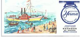 Buvard Montre Herma Bâteau à Roue Et à Vapeur Offert Par Horlogerie Bijouterie à AUCHEL (62) - Buvards, Protège-cahiers Illustrés
