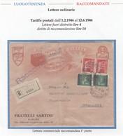 LuogoT. 070 - LUOGOTENENZA 1946 - Lettera Commerciale Racc.in Tariffa, Rimini Novafeltria 16.2.46  - - 5. 1944-46 Luogotenenza & Umberto II