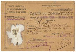 SEINE ET OISE 1934 VERSAILLES CARTE DU COMBATTANT PHOTO ARRACHEE - Documents Historiques