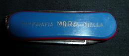 Couteau Ancien, Publicité,   Tipografia MORA - Biella - 1 Lame Et Lime à Ongles - Messen