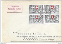 """125 - 62 - Enveloppe Avec Oblit Spéciale """"Frauenfeld Kantonales Turnfest 1953"""" - Storia Postale"""