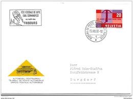 """125 - 64 - Enveloppe Avec Oblit Spéciale """"Fête Fédérale De Lutte Fribourg 1958"""" - Storia Postale"""