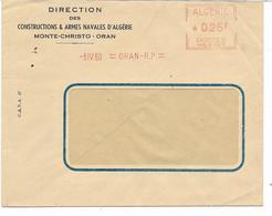 EMA  -8 IV 60=ORAN-R.P.=  ALGERIE *025F POSTES MG2747 - Armes Navales MONTE-CHRISTO-ORAN - Storia Postale