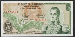 COLOMBIA P406f 5 PESOS  ORO 1.10 1978  UNC. - Colombia