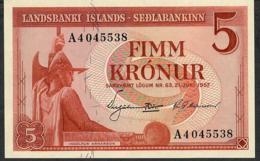 ICELAND P37b 5 KRONUR 1957 UNC. - IJsland