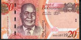 BOTSWANA P31a 20 PULA 2009 #AA  FIRST DATE FIRST PREFIX !   UNC. - Botswana