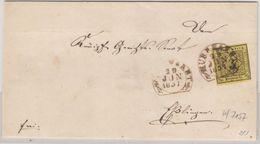 Württemberg - 3 Kr. Quadrat/geschn., Brief Steigbügel Murrhardt - Esslingen 1851 - Wuerttemberg