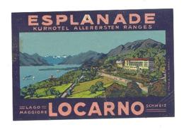 """Etiquette Publicitaire En Papier Gommé Pour Coller Sur Bagages,valise,...Hôtel """" Esplanade  """" à LOCARNO Suisse - Advertising"""