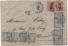 INDOCHINE Tonkin 1910 Lettre Timbres Annamite  TAXE 2 Bandes De Quatre 5c Banderole Non Dentelé Colonies Générales RRR! - Strafportzegels