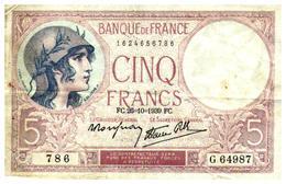 Billets > France > 5 Francs > FC.26=10=1939.FC.  >   G.64987 - 1871-1952 Anciens Francs Circulés Au XXème