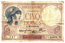Billets > France > 5 Francs > EQ.26=10=1939.EQ.  >   V.64976 - 1871-1952 Anciens Francs Circulés Au XXème