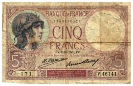 Billets > France > 5 Francs > FV.1=10=1934.FV.  >   V.46141 - 1871-1952 Anciens Francs Circulés Au XXème