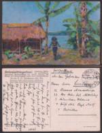 Kolonialkriegerdank Künstlerkarte Pete Paul Müller Feldpost 1915 Eingeborener - Papua New Guinea
