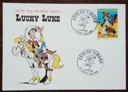 CM 2003 - YT N°3547 - FETE DU TIMBRE / LUCKY LUKE - SAUVIAT SUR VIGE - Cartes-Maximum