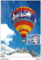 """82 - 69 - Carte Suisse Avec Oblit Spéciale De Chateau D'Oex 1994 """"Champ Du Monde De Dirigeables"""" - Montgolfières"""