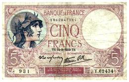 Billets > France > 5 Francs > TS.14=9=1939.TS.  >  Y.62434 - 1871-1952 Anciens Francs Circulés Au XXème