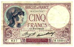 Billets > France > 5 Francs > GN.23=2=1933.GN.  >  H.53501 - 1871-1952 Anciens Francs Circulés Au XXème