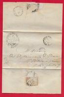 PREFILATELICA PONTIFICIO - 1866 Cover ONANO BORGHETTO Timbri Postali ACQUAPENDENTE CIVITA CASTELLANA FINANZA Pontificia - Italia
