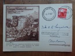 REPUBBLICA - Marcofilia - Convegno Filatelico Nazionale Torino 1947 + Spese Postali - F.D.C.