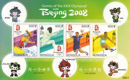 2008 Mongolia Beijing Olympics Handball Kayaking  Miniature Sheet Of 4  MNH - Mongolei