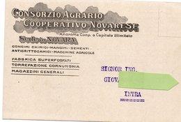 Cartolina Commerciale - CONSORZIO AGRARIO COOPERATIVO NOVARESE - FORMATO PICCOLO - 1916 - (rif. S28) - Novara