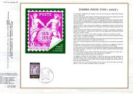DOCUMENT FDC 1976 JOURNEE DU TIMBRE CENTENAIRE DU TYPE DU SAGE - FDC