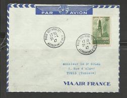 Poste Aérienne Lettre Air France Ref. 5 Paris Tunis YT 567seul Sur Lettre Beffroi Arras 26.4.47 - Airmail