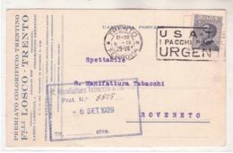 Cartolina Commerciale Da  Trento 6/)/1929 K608 - Marcophilia