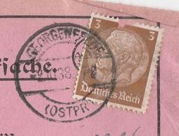 Ostpreussen Deutsches Reich Karte Mit Tagesstempel Georgenfelde LK Rastenburg RB Königsberg 1938 - Germania