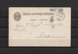 1876 POSTKARTE → Karte Von SALQUENEN (Salgesch/VS) Via SIERRE Nach Zug   ►seltener Balkenstempel Salquenen◄ - Ganzsachen