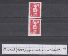 France Marianne De Briat (1990) Y/T Paire Verticale P2629a Neuve ** Issue Du Carnet 2629-C1 - 1989-96 Marianne Du Bicentenaire