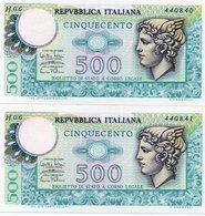 ITALIA 500 LIRE 1974 P-94a1-Firme: Miconi-Nardi-Fabiano.-UNC CONSECUTIVE - [ 2] 1946-… : République