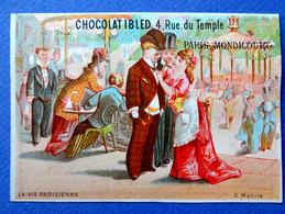 CHROMO ..LITH ..BASTER ET VIEILLEMARD.....CHOCOLAT IBLED...LA VIE PARISIENNE..A MABILE...SALLE DE DANSE...COUPLE KIOSQUE - Ibled