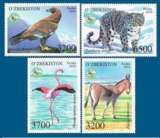 Uzbekistan 2019. Fauna Of Uzbekistan. Berkut. Kulan. Flamingo. Snow Leopard.  MNH - Usbekistan