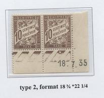 Taxe 10 Cts Brun Type 2, Coin Daté 1935 - Taxes